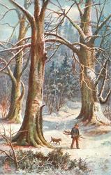 man carries bundle of sticks under arm as he walks down path in woods