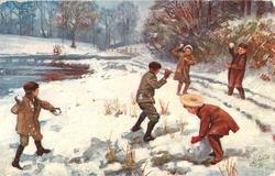 five children throwing snowballs at each other