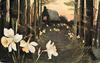 wood scene, path in center to house, trees both sides, three large daffodils lower left