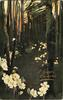 wood scene, path in centre many primroses