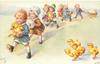 parade of children carrying chicks & eggs march front left,four chicks lower right observe