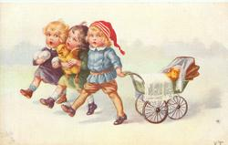 three children, one carries two eggs, another a struggling chick, and right front child pulls chick in a pram