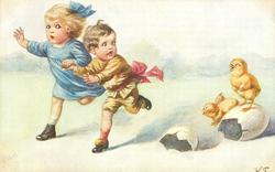 two children run left, frightened by two chicks right, one stands on egg shell