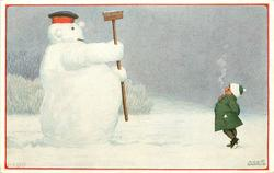 snowman wearing uniform hat holds broom as though saluting small girl standing right smoking cigarette