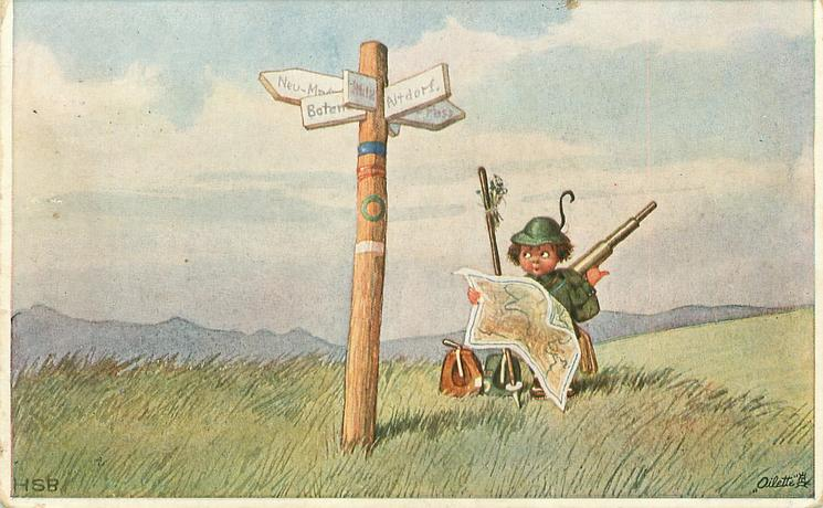 girl carrying telescope & staff studies map & looks up at signpost