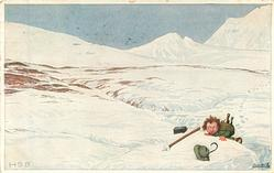 DER STREBER  unhappy boy has fallen on snow-covered mountain side, he struggles to climb up