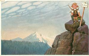 girl carrying telescope & umbrella stands on mountain top & yodels next to notice saying ECHO