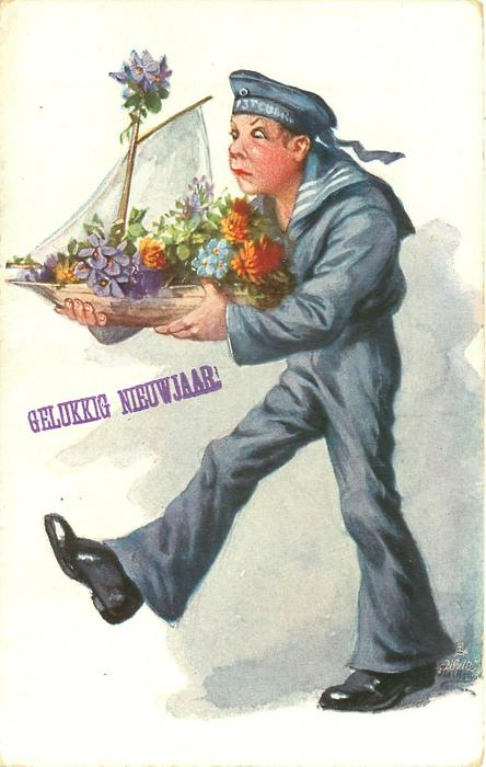 sailor in blue uniform strides left carefully carrying model ship loaded with flowers