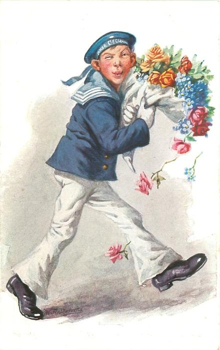 sailor in white trousers, blue top runs right carrying large bouquet & dropping some