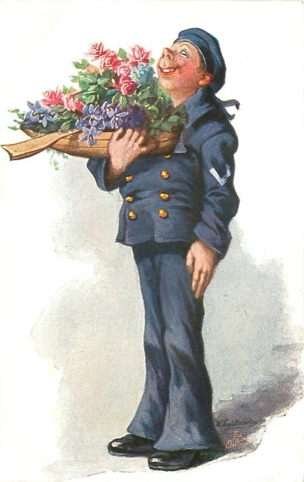 sailor in blue uniform stands facing left, looking up, model boat full of flowers