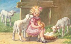 girl sits on stool holding chick on her knee, she looks down at lamb looking up at her, another lamb in meadow left, another lamb right, basket of eggs at girls feet