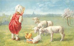 girl stands left looking down at three lambs, one nibbles at a cloth over basket of coloured eggs, chick stands on basket protesting
