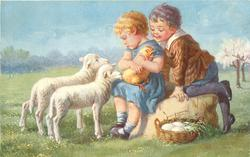 two children, girl sits on stone holding unhappy chick, she looks down on two lambs, boy clinbs behind looking over girls shoulder, basket of eggs lower right