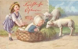 two children, one in basket with grass & large eggs, another behind, two lambs right