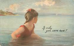 IF ONLY YOU WERE HERE!  young girl in red bathing suit sits in sea looking at the horzon