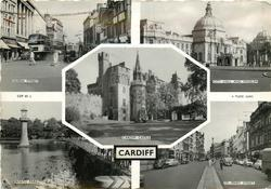 5 insets QUEEN STREET/CITY HALL AND MUSEUM/CARDIFF CASTLE/ROATH PARK/ST. MARY STREET