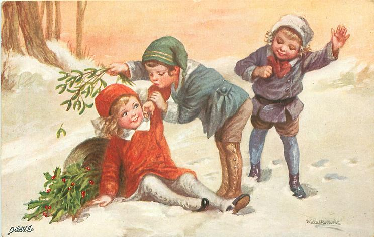 boy holding mistletoe bends over to kiss girl sitting in snow, mistletoe & holly, another child right
