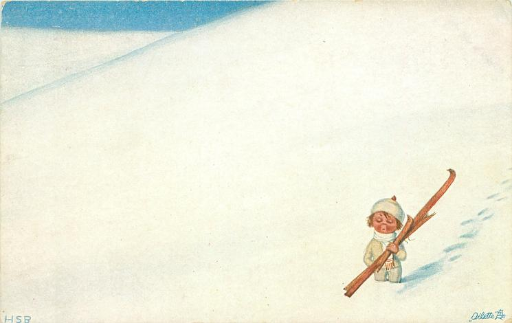 small girl stands front left, carrying skis, one broken, in an immensity of snow
