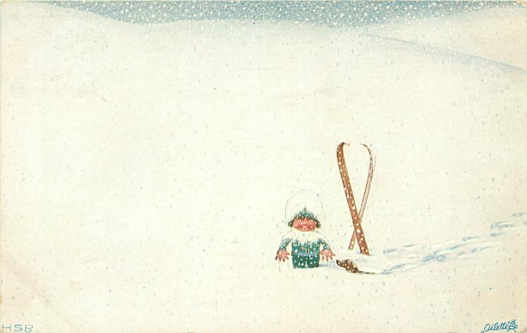 small girl stands front left, having fallen from her skis in an immensity of snow