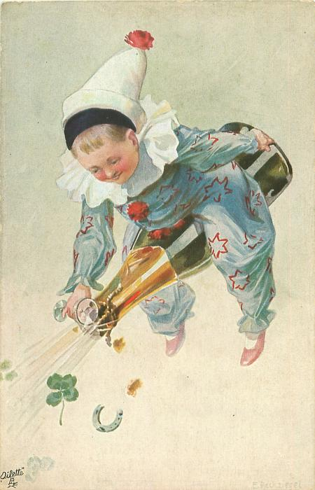 boy in light blue starred harlequin suit rides champagne bottle & attempts to catch some in glass