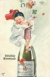boy in white harlequin suit attemps to stop champagne escaping from opening champagne bottle with both hands