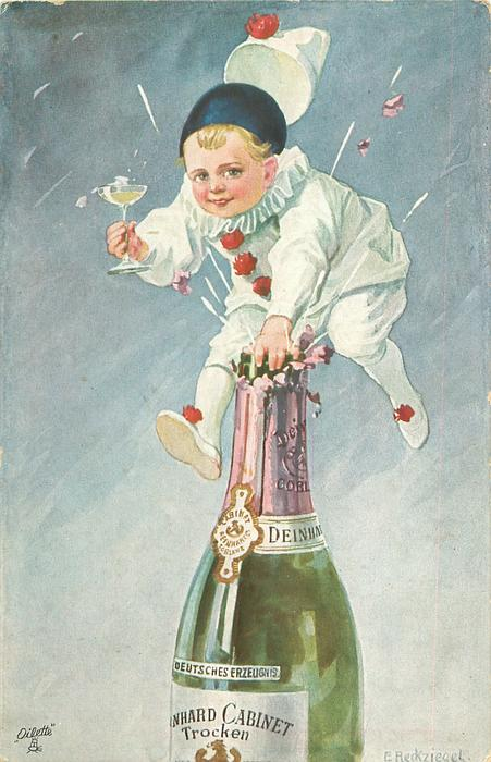 boy in white harlequin suit attemps to stop champagne escaping from opening champagne bottle with one hands-, the other holds a glass