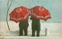 2 doll-children face away, each under red umbrella, toy dog right, snow scene
