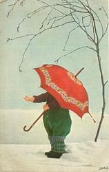 doll-child faces left, face hidden by large red umbrella, snow scene