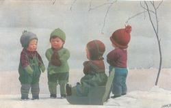 HUNDEKALT IST DAS HEUT'- doll-child sits in green sled on ground facing left back, 2 others stand facing front, another faces back, snow scene