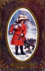 A MERRY CHRISTMAS  inset girl standing holding branch of holly