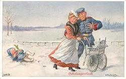ERHOLUNGSURLAUB soldier embraces nurse-maid, protesting baby lying in the snow behind