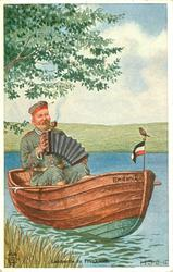 LANDPARTIE IN FRANKREICH  soldier relaxing playing accordion whilst in row boat smoking, small bird perched on flag