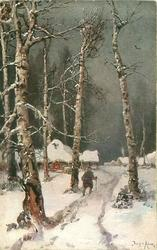 WINTERABEND snow scene, man is walking with cane toward house on path between birch trees