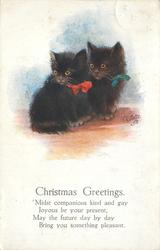 CHRISTMAS GREETINGS  (two black kittens snuggle together)