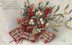 holly & mistletoe, stalks lower left, red tartan bow
