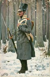 soldier stands facing left, rifle with bayonet in right hand snowy woodland scene
