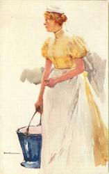 SERIES HOLLANDISCHES DIENSTMADCHEN Dutch maid in yellow dress, white apron, carries pail