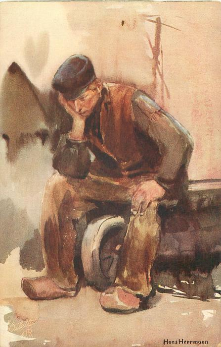 SERIE HOLLANDISCHE BAUER PROVINZ DRENTHE sad Dutch man in brown sits, one hand on knee, the other supports his head