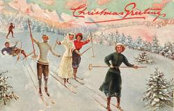 six people skiing down hill