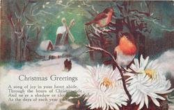 CHRISTMAS GREETINGS (two robins on bough, windmill in background)