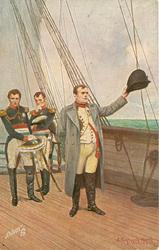 NAPOLEONS ABSCHIED VON FRANKREICH  on ship waving his hat with left hand, two men behind, leaving France