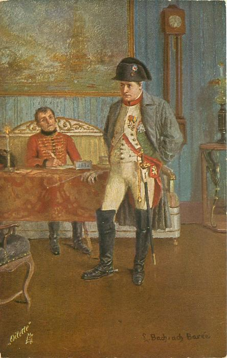 NAPOLEON BESCHLLIEBT DEN FELDZUG NACH RUSSLAND  standing with hands behind back in front of table with officer seated with quill, he plans the russian campaign