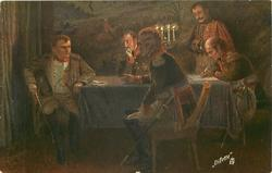 NAPOLEON UND SEINE OFFIZIERE VOR DER SCHLACHT BEI LEIPZIG  seated at table with three others, lighted candlestick on table, before the battle for leipzig