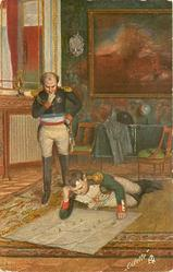 NAPOLEON VOR DER SCHLACHT BEI JENA  lying on floor studying map, general above with hand on chin