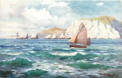 THE NEEDLES (chalk cliffs in distance, sailboat in foreground)