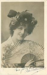 MISS MARIE STUDHOLME  facing front holding fan