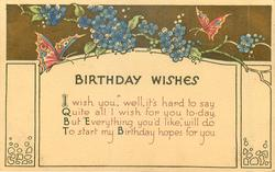 BIRTHDAY WISHES  verse, flowers & butterflies above, buff background