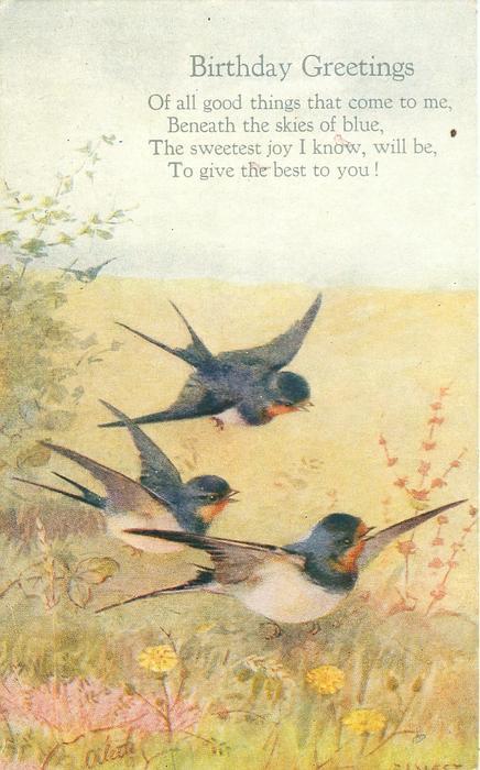 BIRTHDAY GREETINGS  verse, three swallows