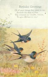 BIRTHDAY GREETINGS  verse, three swallows