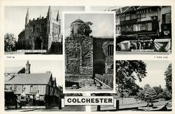 5 insets  ST. JOHN'S ABBEY GATEWAY/THE RED LION HOTEL/THE CASTLE/THE OLD SIEGE HOUSE/CASTLE PARK